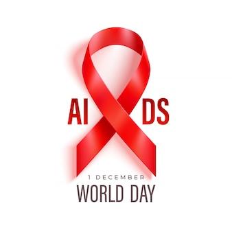 Bandiera della giornata mondiale dell'aids con il nastro rosso