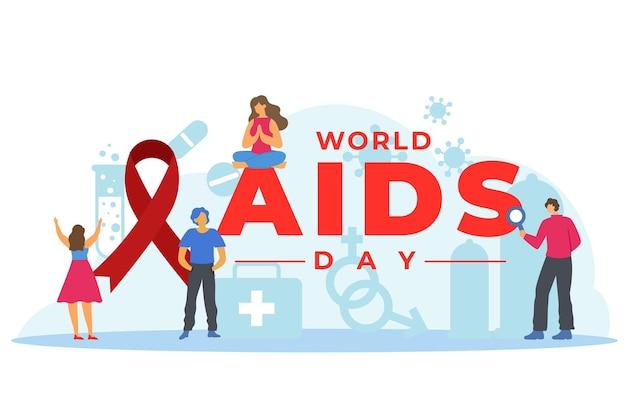 Illustrazione di concetto di giornata mondiale contro l'aids