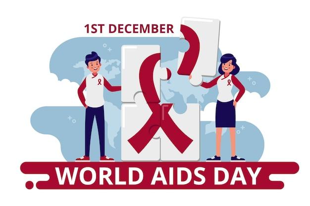 Evento della giornata mondiale contro l'aids illustrato