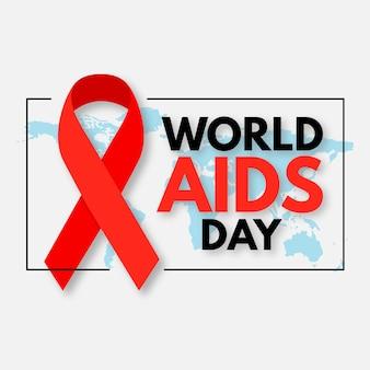 Evento della giornata mondiale contro l'aids con mappa e nastro
