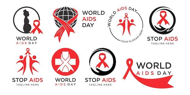 Simbolo dell'icona della giornata mondiale dell'aids modello di progettazione dell'emblema del nastro di consapevolezza dell'hiv e dell'aids