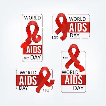 Collezione di etichette per la giornata mondiale contro l'aids