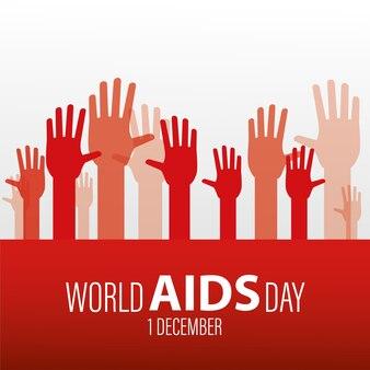 Iscrizione della giornata mondiale contro l'aids con le mani in alto