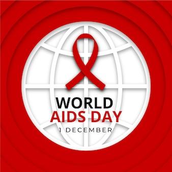 Nastro della giornata mondiale contro l'aids sul globo terrestre in stile carta