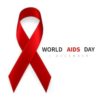 Simbolo della giornata mondiale contro l'aids, 1 dicembre. simbolo del nastro rosso realistico.