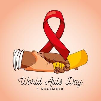 Giornata mondiale contro l'aids con nastro di consapevolezza e mani e saluto con le braccia.