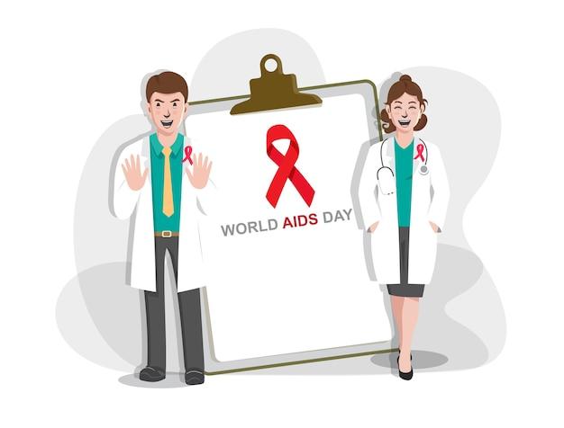 Giornata mondiale contro l'aids con i medici, illustrazione della giornata mondiale contro l'aids con nastro di sensibilizzazione sull'aids