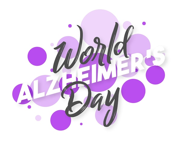 Tipografia della giornata mondiale dell'alzheimer su sfondo a bolle