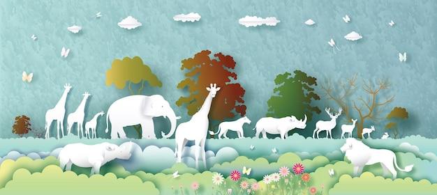 Giornata mondiale degli animali con cervi, elefanti, leoni, giraffe, conigli, rinoceronti e farfalle in stile paper art, paper cut e origami craft. giornata mondiale della fauna selvatica degli animali dell'illustrazione nella struttura della carta.