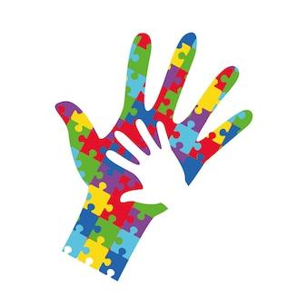 Striscione della giornata mondiale della consapevolezza sull'autismo con le mani bianche di adulti e bambini. puzzle puzzle multicolore. terapia del volontariato, aiuto per gli autistici.. simbolo del logo