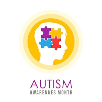 Giornata mondiale dell'autismo 2 aprile illustrazione del concetto di autismo