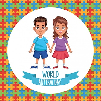 Le coppie dei bambini del giorno di autismo del mondo con i pezzi di puzzle vector l'illustrazione