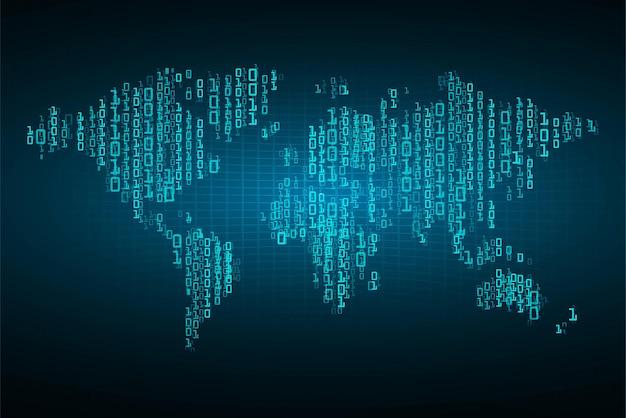 Mondo circuito binario tecnologia futura blue hud concetto di sicurezza informatica background