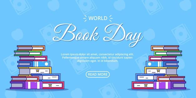 Banner della giornata mondiale del libro con un sacco di libri.