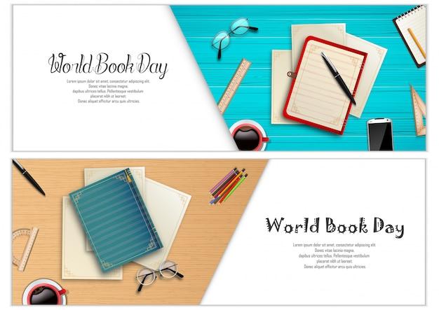 Modello di banner di giorno di libro del mondo