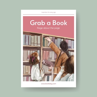 Modello di poster della giornata mondiale del libro