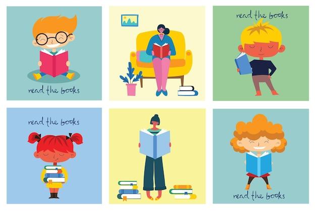 Giornata mondiale del libro, lettura dei libri e festival del libro in stile piatto. le persone si siedono, stanno in piedi, camminano e leggono un libro
