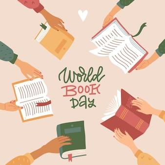 Striscione quadrato per la giornata mondiale del libro con scritte disegnate a mano molte mani diverse che tengono libri aperti ...
