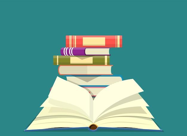 Giornata mondiale del libro. pila di libri colorati con libro aperto. illustrazione vettoriale in design piatto