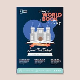 Modello di volantino verticale della giornata mondiale del libro Vettore Premium