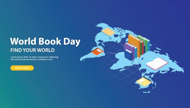 Progettazione di banner del sito web di giorno libro mondiale con mappe del mondo
