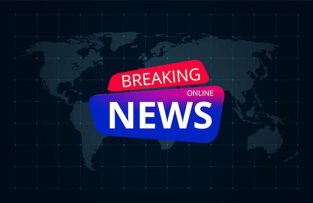 Ultime notizie sul mondo. fondo grafico del copricapo di servizio di radiodiffusione del canale televisivo
