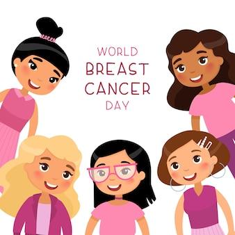 Modello di banner di social media per la giornata mondiale del cancro al seno. personaggi dei cartoni animati di giovani ragazze sorridenti.