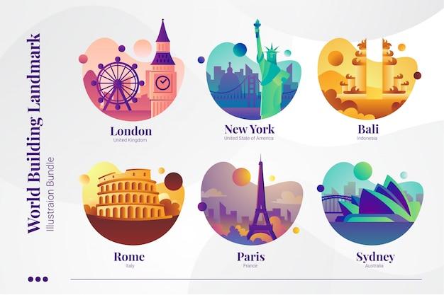 World building landmark, londra, new york, bali, roma, parigi e sydney