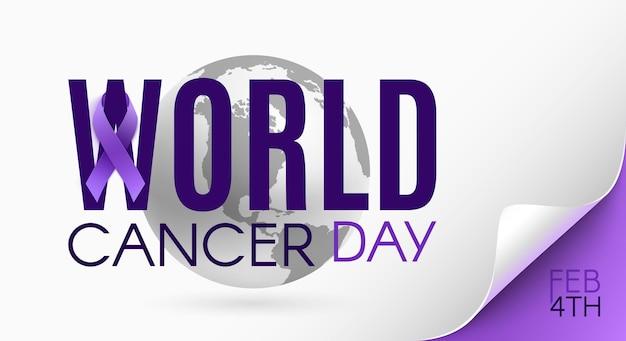 Modello di sfondo giornata mondiale del cancro con nastro viola e icona della terra. illustrazione vettoriale.