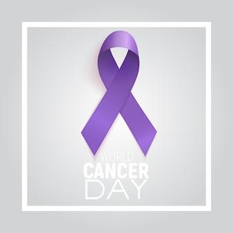 Concetto di giornata mondiale contro il cancro con nastro di lavanda.