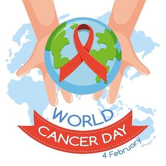 Logo o banner della giornata mondiale contro il cancro con un nastro rosso e un globo