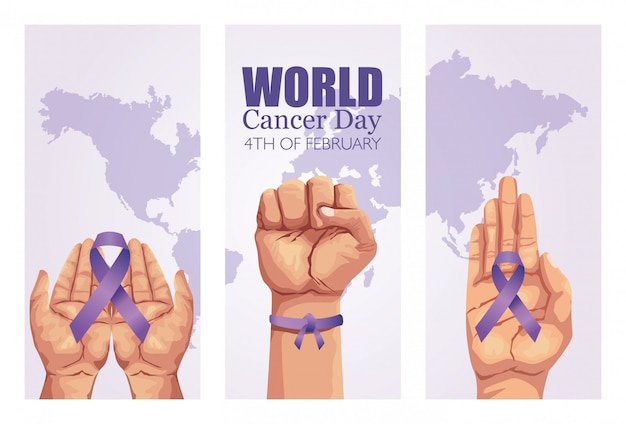 Manifesto di giornata mondiale del cancro con mani e nastro