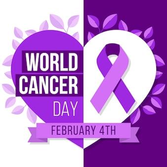 Nastro viola di giornata mondiale del cancro