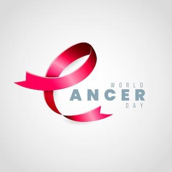 Nastro della giornata mondiale del cancro con testo