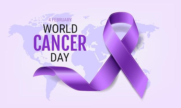 Giornata mondiale contro il cancro con nastro viola realistico