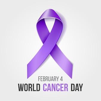 Giornata mondiale contro il cancro con il nastro, sfondo della campagna del mese di sensibilizzazione di febbraio con il simbolo del nastro viola