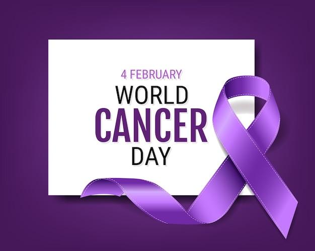 Giornata mondiale contro il cancro con nastro viola
