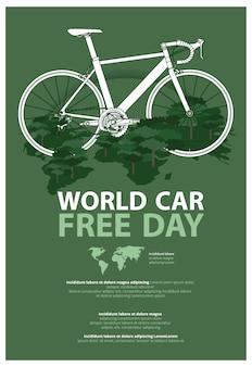 Illustrazione del modello di pubblicità del manifesto di giorno libero dell'automobile del mondo