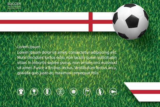 Fondo della tazza di calcio di campionato del mondo. sfondo di immagine della squadra nazionale con pallone da calcio di calcio sul modello e sulla struttura dell'erba verde.