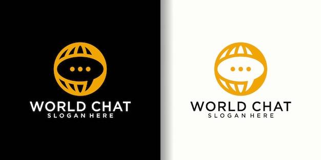 Logo di connessione chat mondiale e modello di biglietto da visita