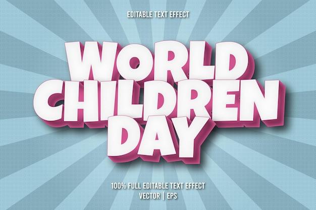 Effetto di testo modificabile per la giornata mondiale dei bambini in stile fumetto