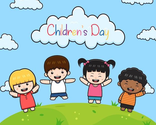 Giornata mondiale dei bambini celebrazione sfondo banner carta fumetto illustrazione piatto stile cartone animato design