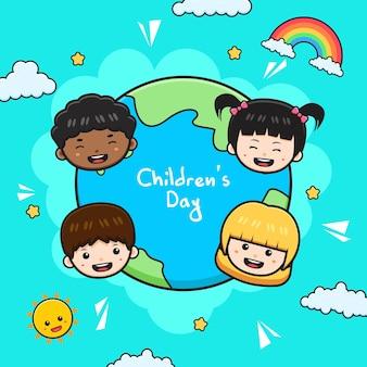 Giornata mondiale dei bambini celebrazione sfondo banner carta fumetto illustrazione piatto stile cartone animato