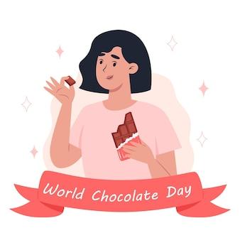 Giornata mondiale del cioccolato, una giovane donna che mangia una tavoletta di cioccolato