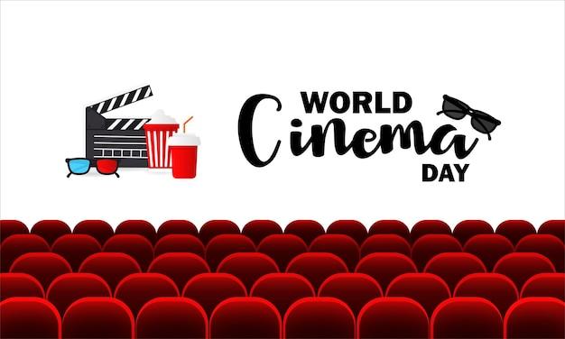 Banner della giornata mondiale del cinema. auditorium cinematografico con posti a sedere.