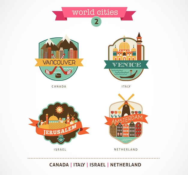 Distintivi delle città del mondo: amsterdam, venezia, gerusalemme, vancouver