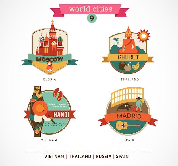 Distintivi delle città del mondo: mosca, phuket, madrid, hanoi