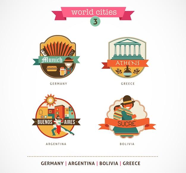 Distintivi delle città del mondo: sucre, buenos aires, monaco, atene