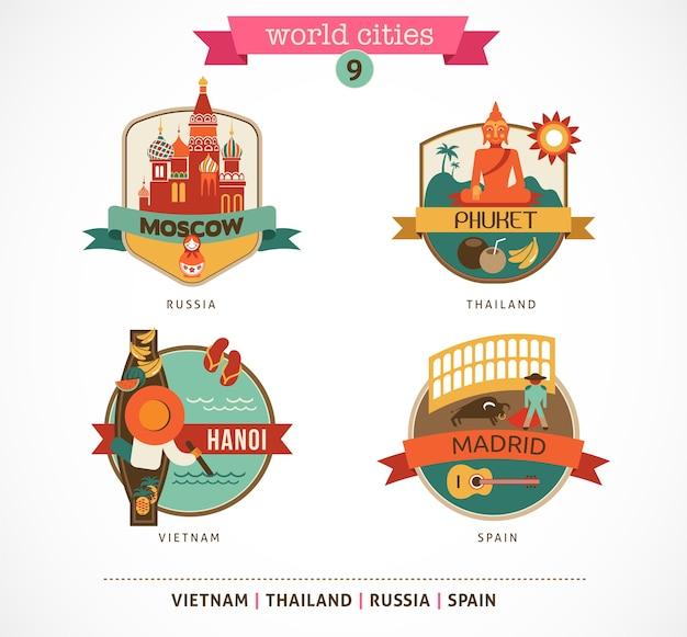 Etichette delle città del mondo - mosca, phuket, madrid, hanoi