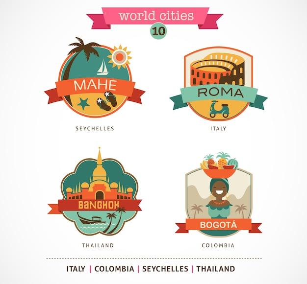 Etichette e simboli delle città del mondo: mahe, roma, bangkok, bogotà